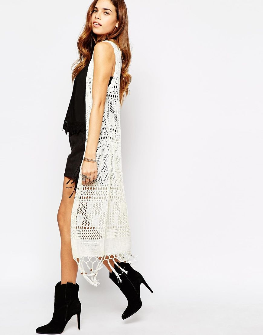 Glamorous Crochet Sleeveless Cardigan With Tassel Hem | NZ AW 15 ...