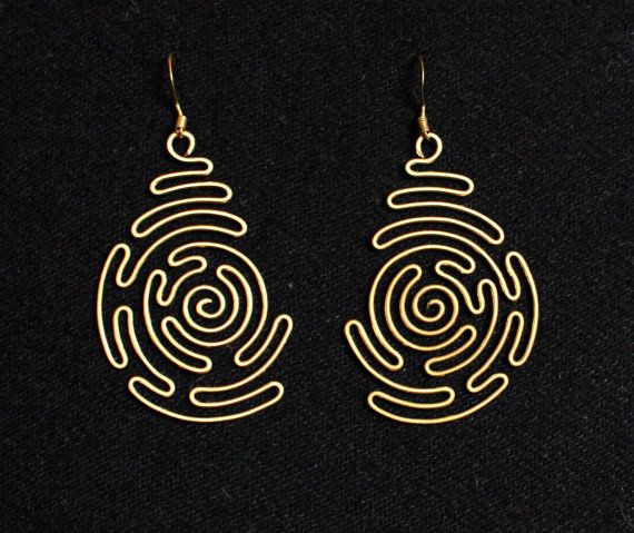 Spiral Labyrinth, Wire Wrapped Brass Earrings | Pinterest | Draht ...