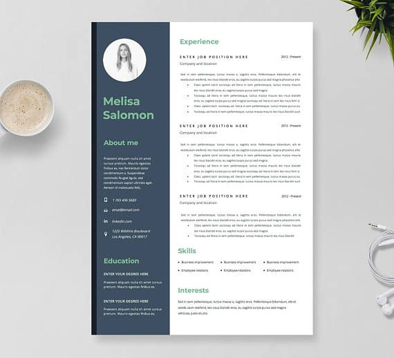 Creative Resume Template In Microsoft Word Instant Download Cv
