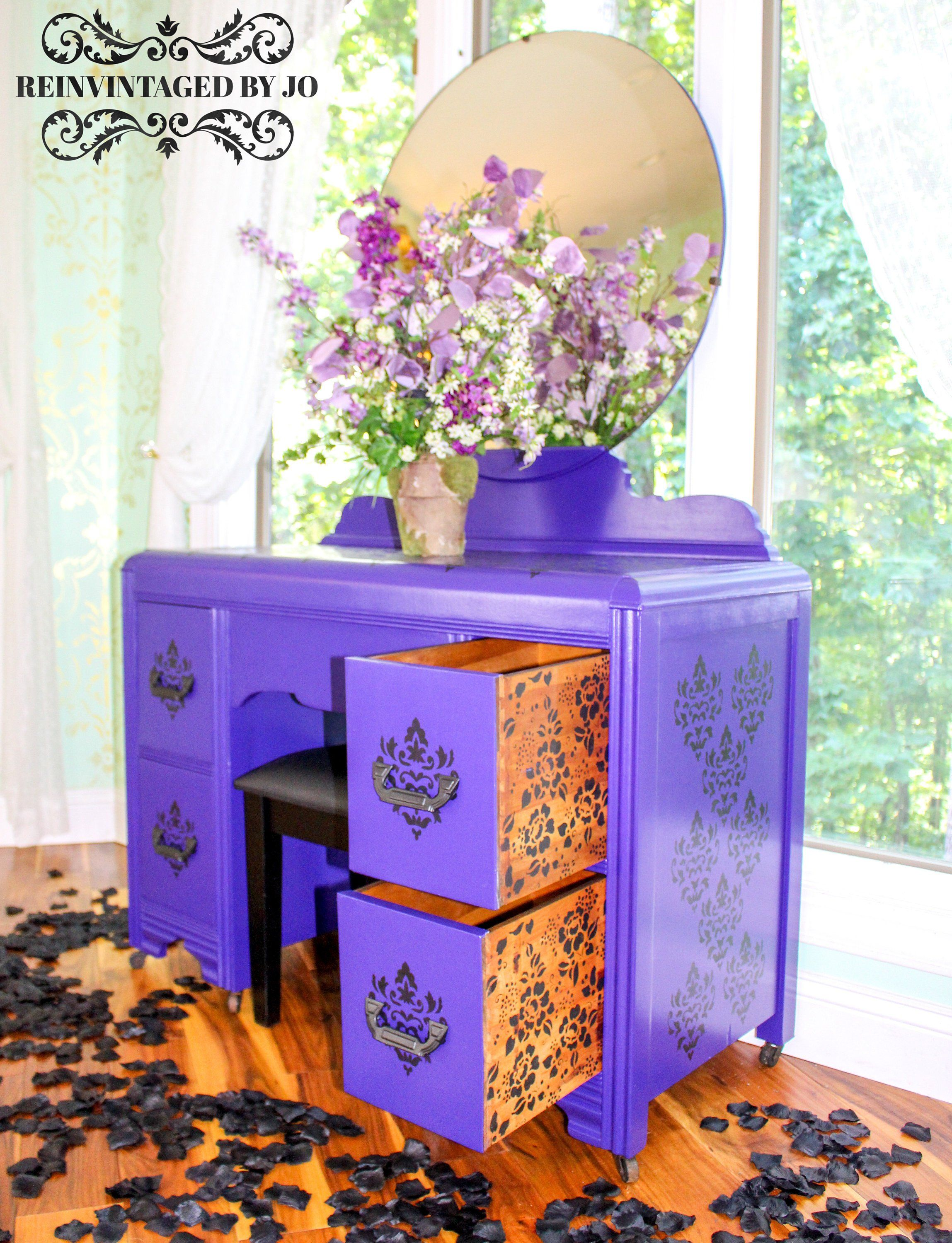 Glam Boho Chic Purple and Black Damask Vanity, Mirror, and Stool Makeup Jewelry Station Furniture Bedroom Living Room Closet Writing Desk is part of Royal Purple bedroom -