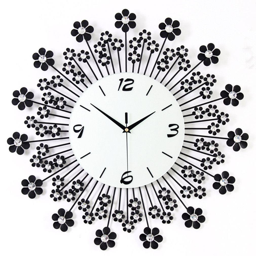Large metal flower crystal wall clock a good choice for home large metal flower crystal wall clock a good choice for home decoration there are amipublicfo Choice Image