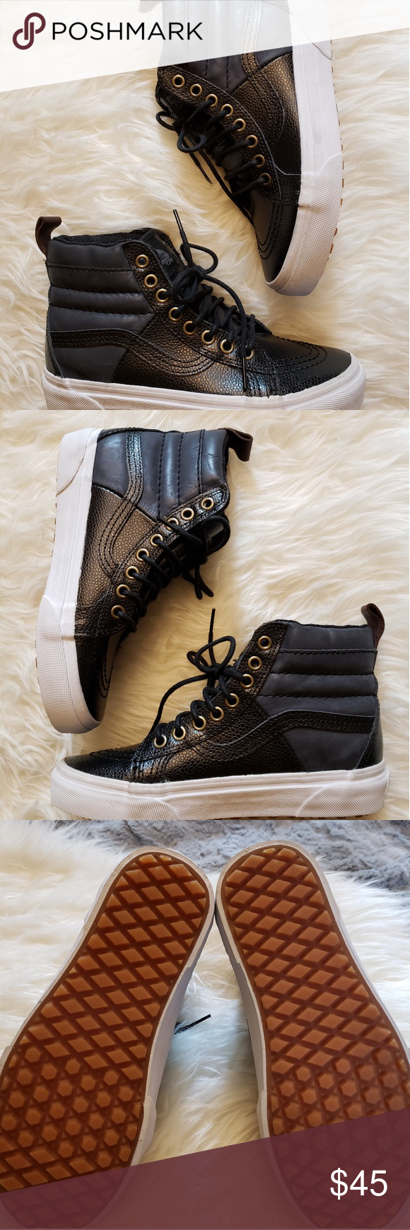 684599b93e Vans Sk8-Hi MTE Black Pebble Leather W 5.5 M4 Vans Sk8-Hi MTE in black  pebble leather. Size men s boys 4 or women s 5.5. New without tags or box.