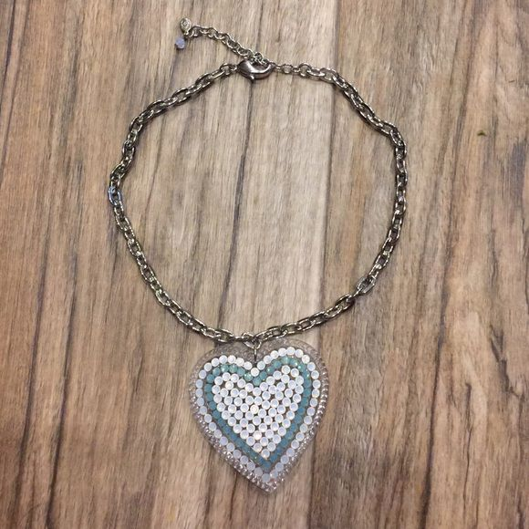 Tarina Tarantino Big Love Crystal rhinestone Heart This is a Beautiful Rhinestone Encrusted Heart it's in Perfect Condition No Missing Stones, Scratches, Ext, I always Get Many Many Compliments when I wear this Necklace The Row Of Mint Green really POPs in Person! Original Price $150 So this is a Great Deal willing to negotiate Through ️️ Especially if you Bundle with other items Tarina Tarantino Jewelry Necklaces