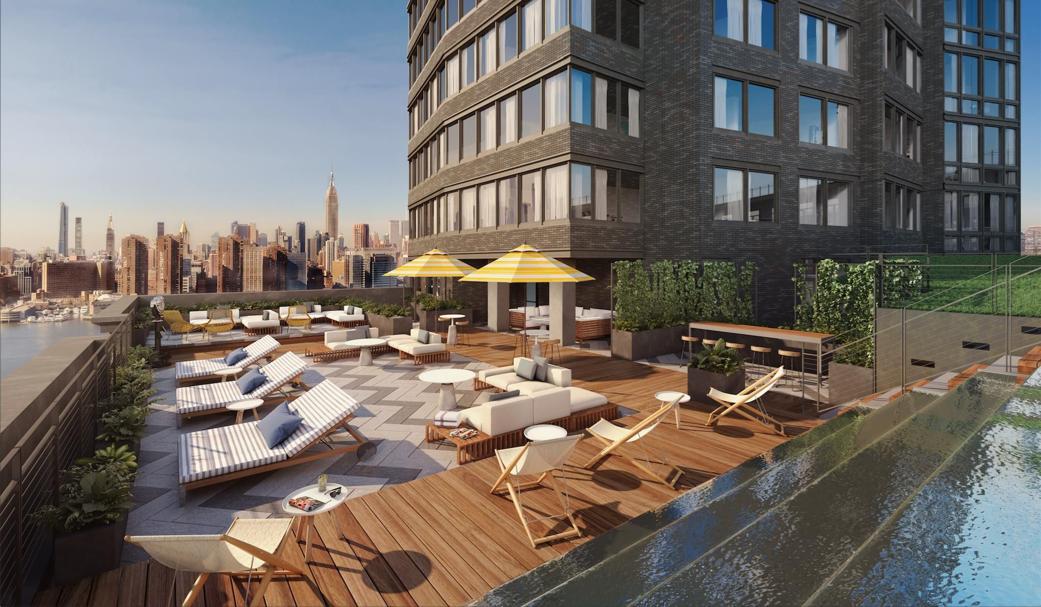 Greenpoint S Tallest Tower Reveals Swanky Basketball Court Sun Deck In New Renders Building Terrace Garden Outdoor Furniture Sets