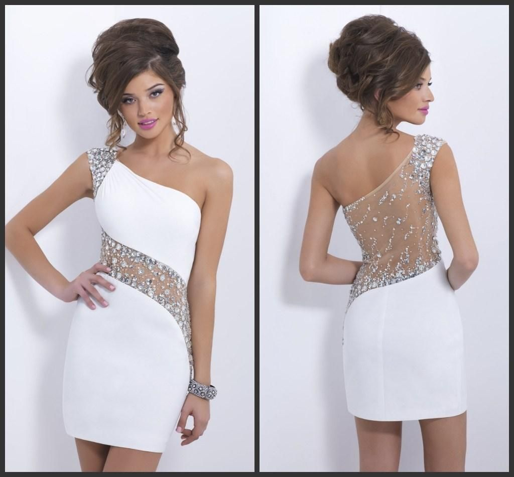Short prom dresses 2015 new tight fashion crystal white sexy prom ...