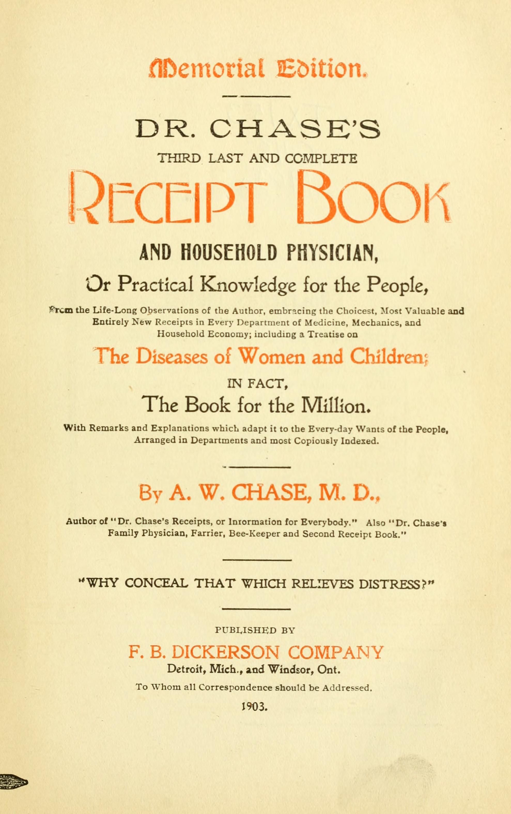 dr chase s third last and complete receipt book and household