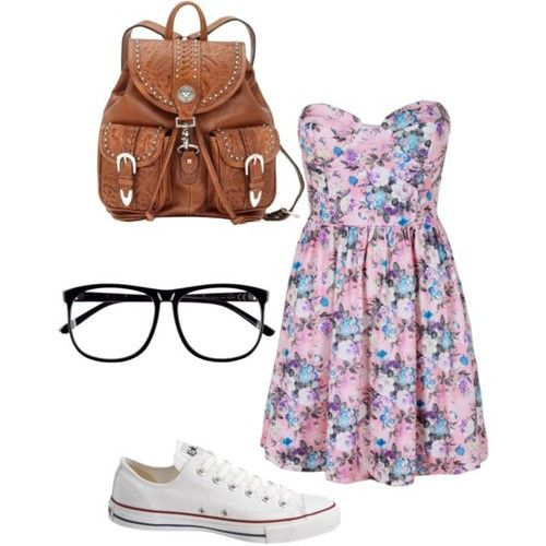 Girly & Casual. Strapless Sweetheart Neckline Floral Dress & White Converse. Floral. Geek glasses. Converse.  Covered all three bases of fashion.  Girly, geek, and hipster.