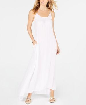 02c1362204 Raviya Crepe Sleeveless Maxi-Dress Cover-Up - White XL Women Swimsuits,  Cover