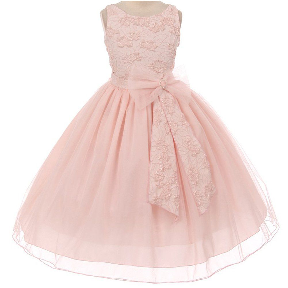17c86c6eafd3 Little Girls Sleeveless Raised Floral Textured Bodice Big Bow Tulle Flower  Girl Dress Blush Pink -