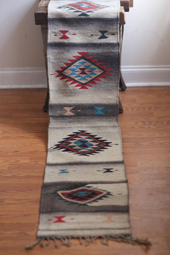 Large Mexican Runner Rug Southwestern Zapotec Saddle