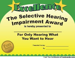 Selective Hearing Employee awards Fun awards for