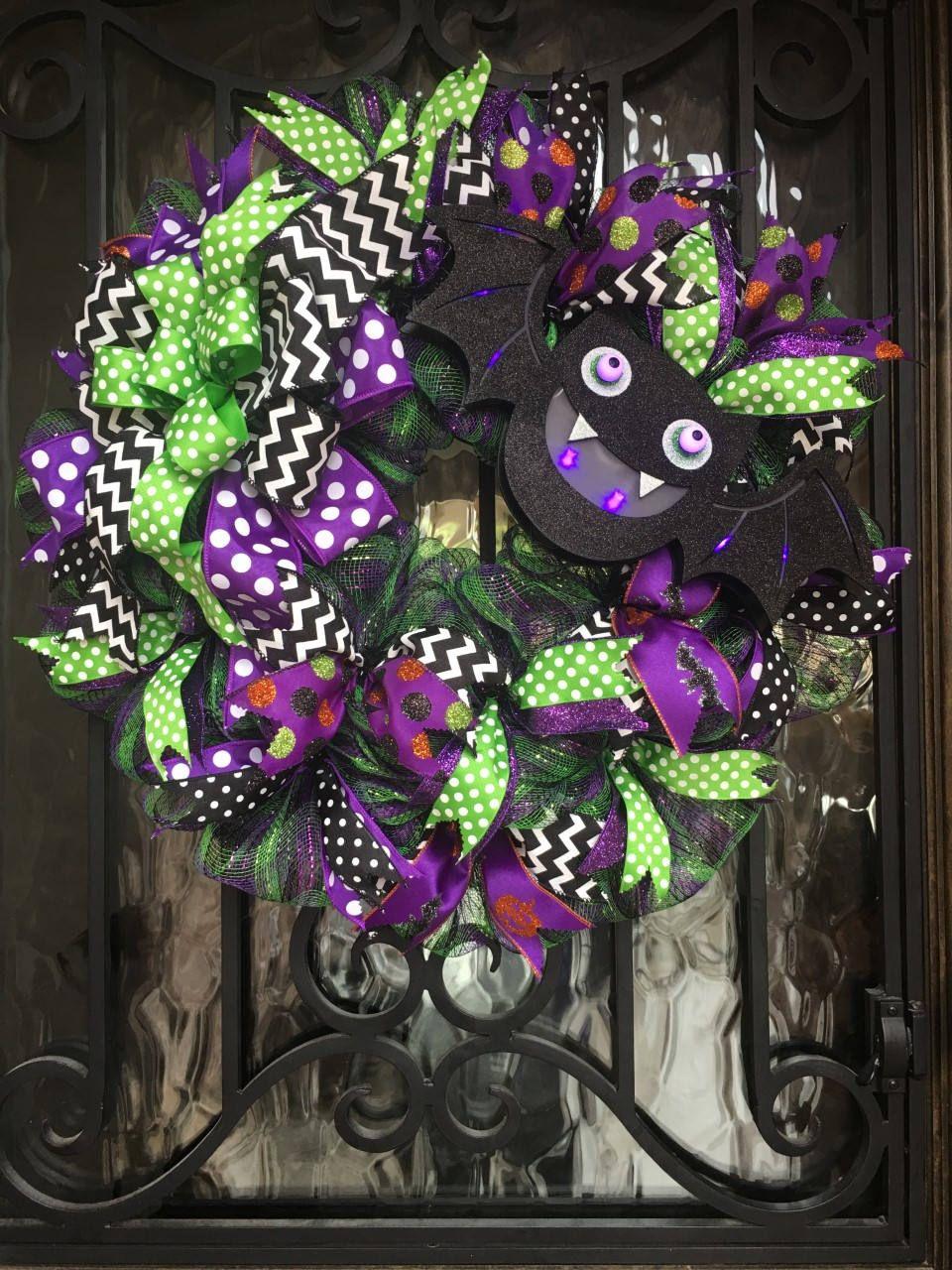 Lighted Bat Halloween Wreath, Halloween Front Door Decor, Purple and - halloween front door decor