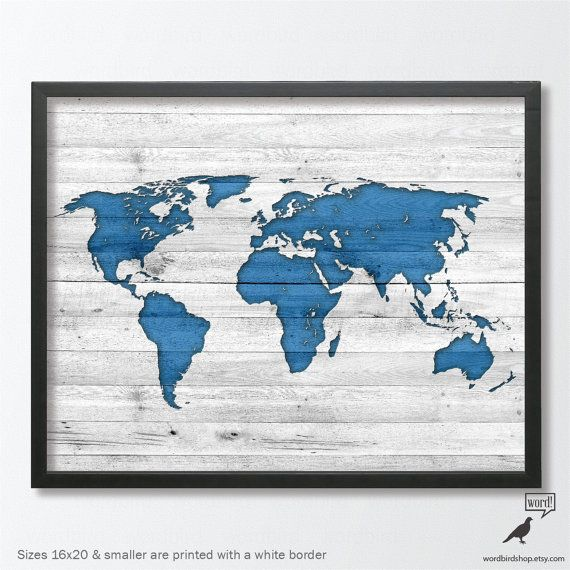World map poster rustic wood texture nursery room by wordbirdshop navy blue world map poster rustic wood look indigo nursery decor nursery cobalt blue world map vintage map of the world world map poster gumiabroncs Images