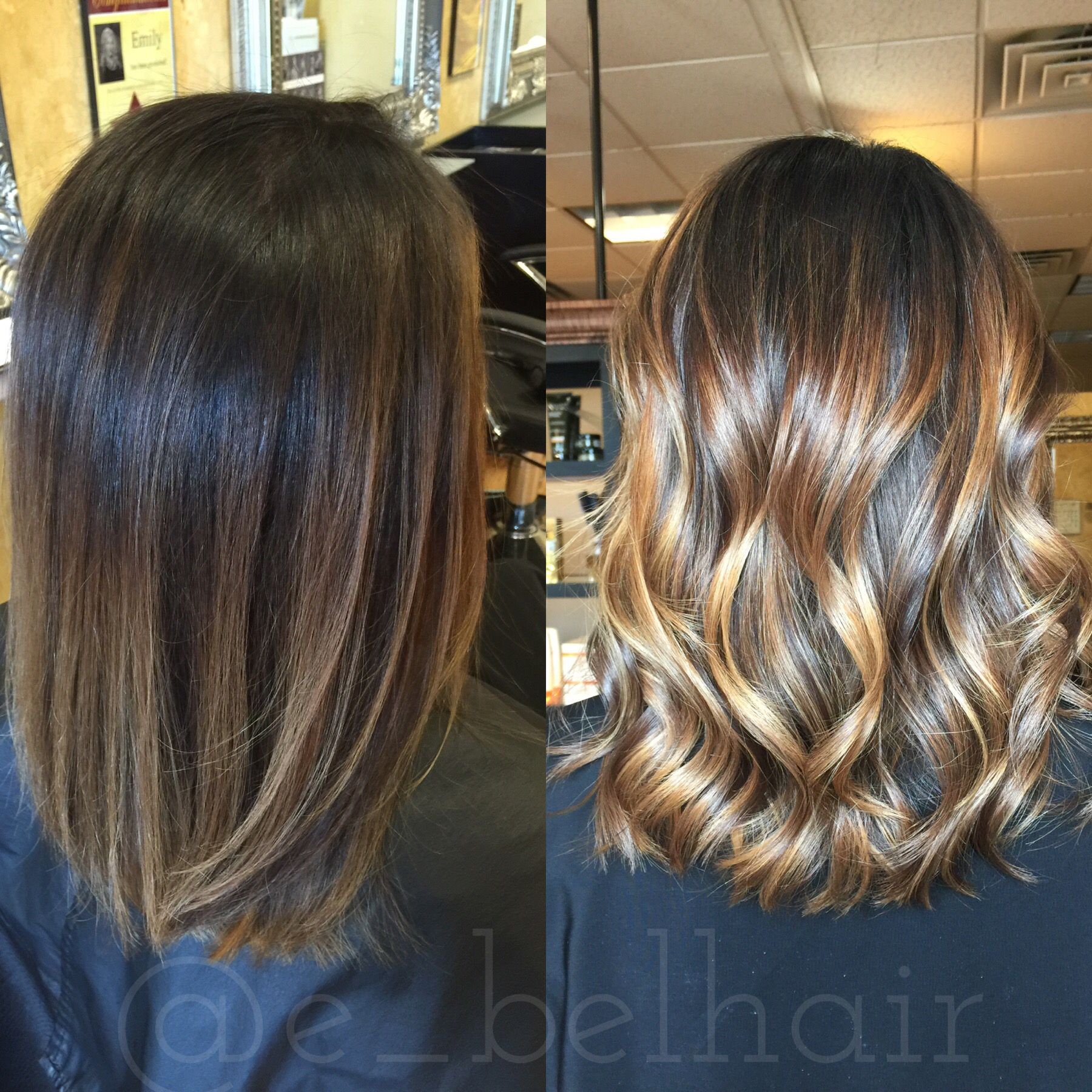 Straight Vs Curled Loving Both Looks After Fresh Balayage Balayage Straight Hair Balayage Hair Hair Styles
