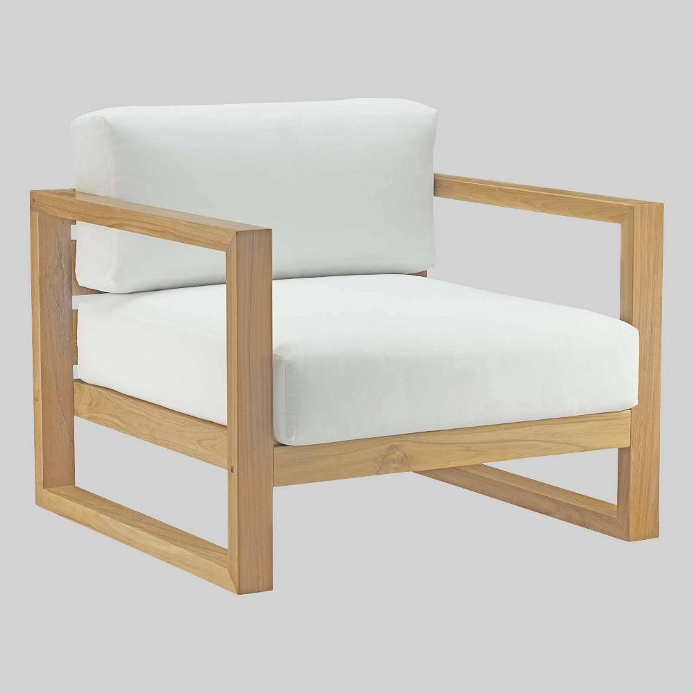 Upland Teak Outdoor Patio Armchair Natural White Modway Teak Armchair Teak Lounge Chair Teak Outdoor