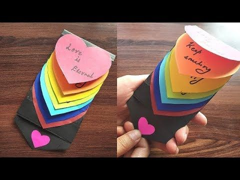 DIY - Rainbow Heart Waterfall Card | Pull Me Waterfall card || Best Gift Card for friends