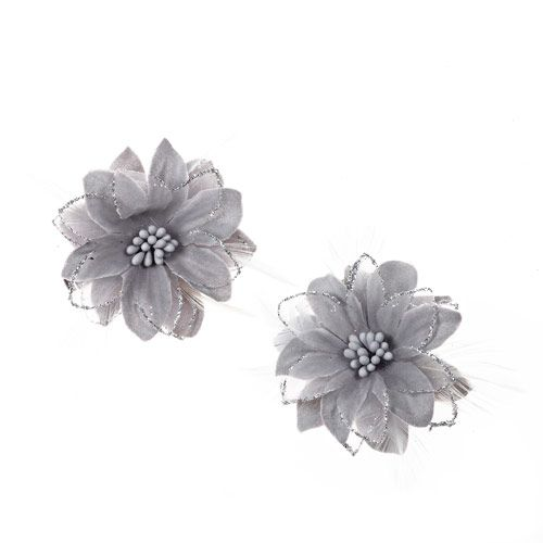 2 Pack Grey Lily Hair Clips