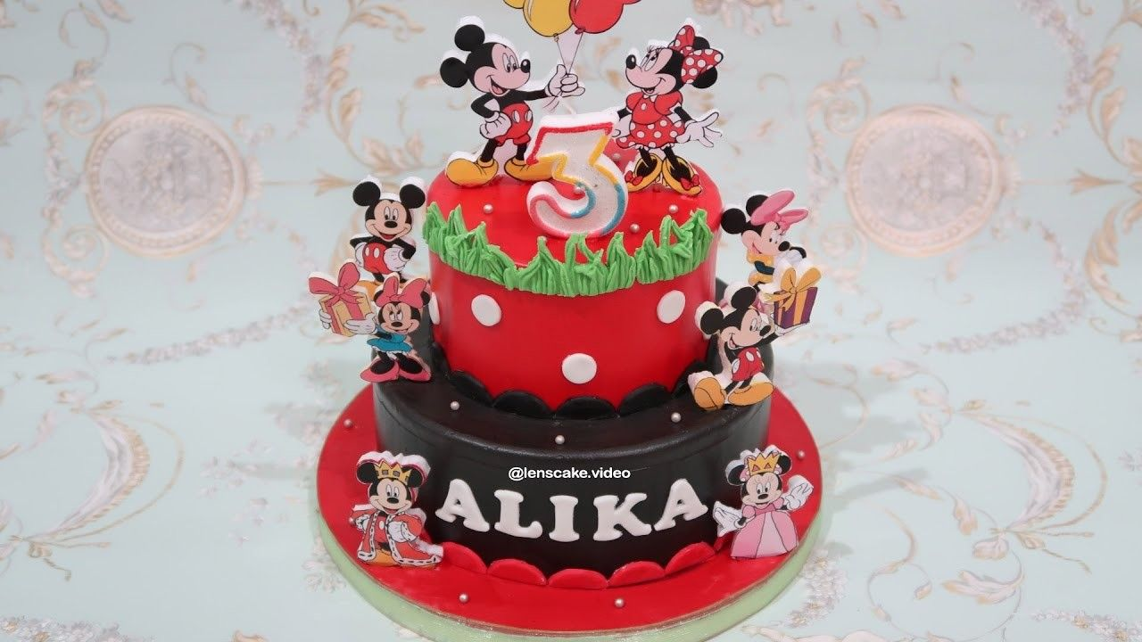 Pin cara menghias kue cake decorating cake on pinterest - How To Make Birthday Cake Mickey Mouse 2 Layers Cara Membuat Kue Ulang Tahun Mickey Bertingkat Birthday Cakes And Cake