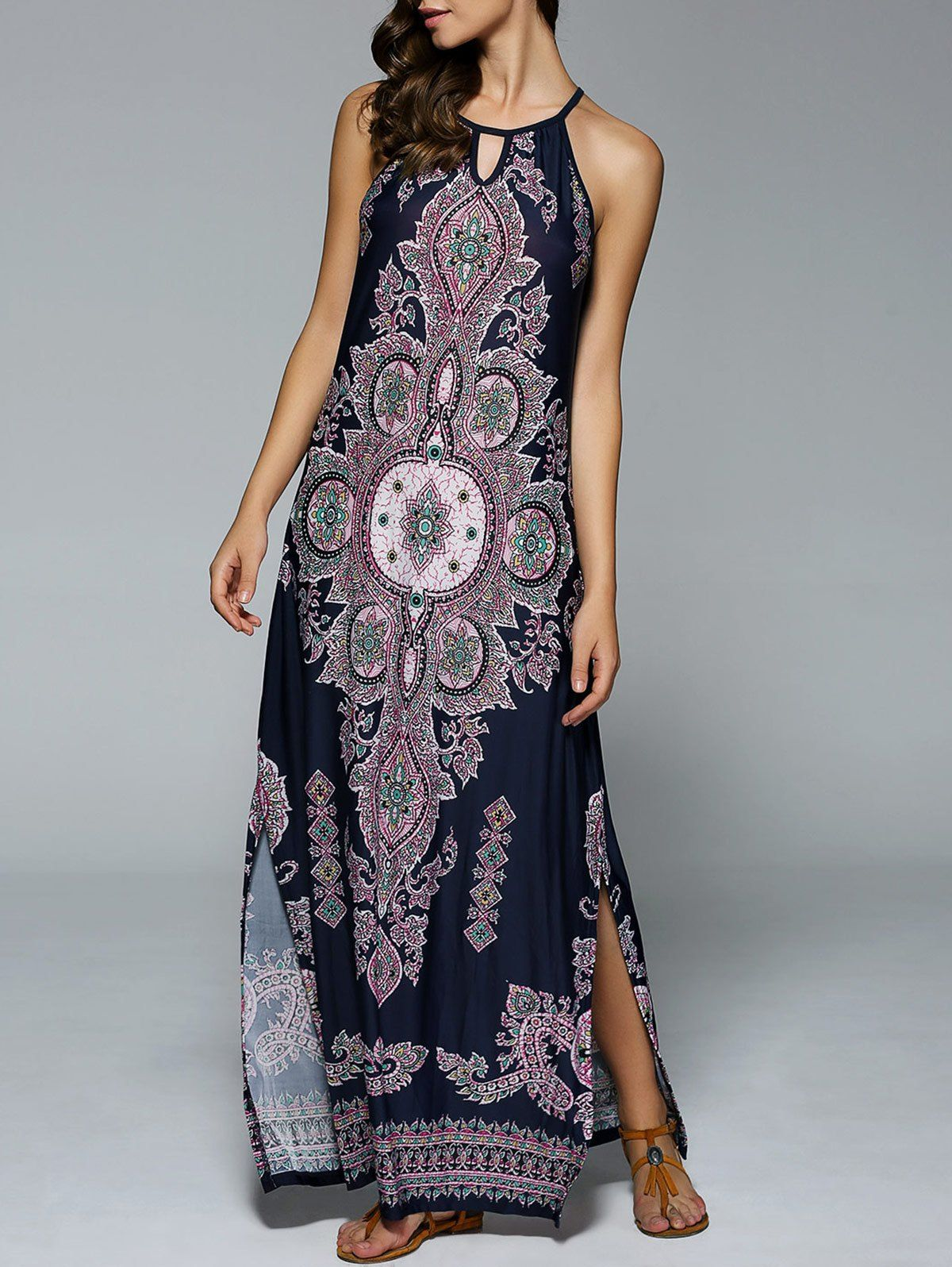Side Slit Tribal Printed Maxi Dress | Tribal maxi dresses, Tribal ...