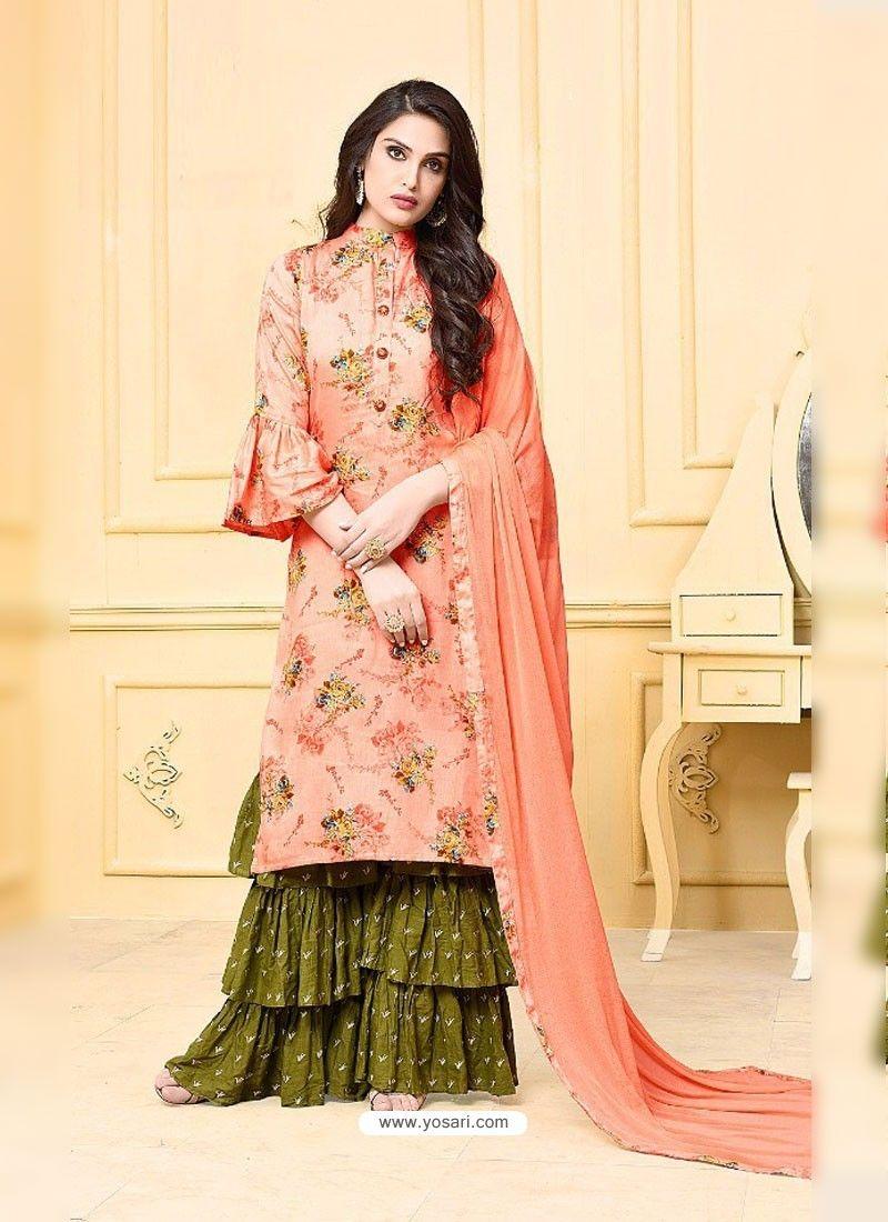 186cd20f66 Peach Digital Printed Jam Silk Cotton Designer Palazzo Suit in 2019 ...