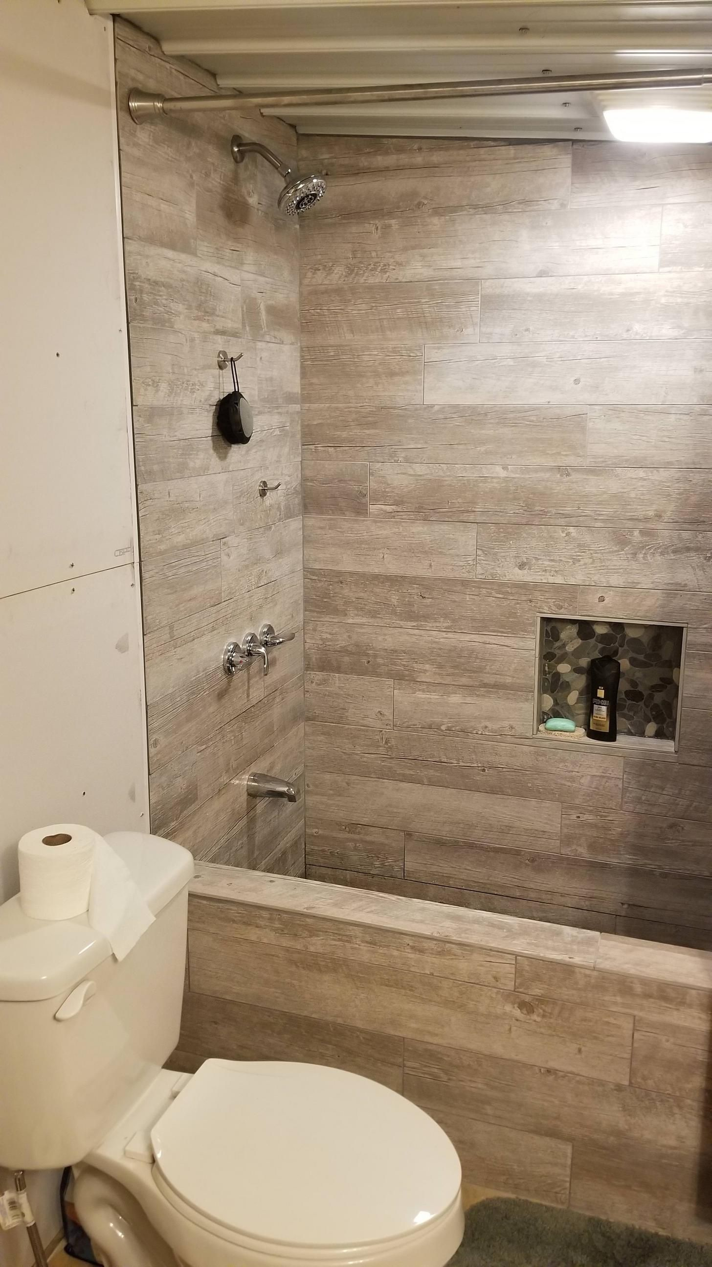 Just Finished The Custom Shower Bathtub In My Apartment All Made Out Of Tile In 2020 Bathtub Shower Bathtub Tile Concrete Bathtub