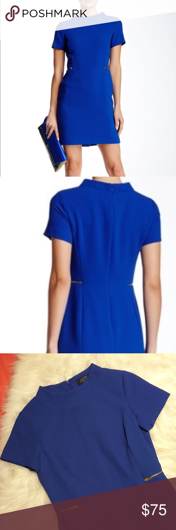 NWT Tahari Size 4 Petite Cobalt Dress Brand new with tags attached Tahari Cobalt Dress in Size 4 Petite. Gorgeous gold zipper design on each side of dress. Full zipper on back of dress for premium fitting. Dress is fully lined. Tahari Dresses #cobaltdress