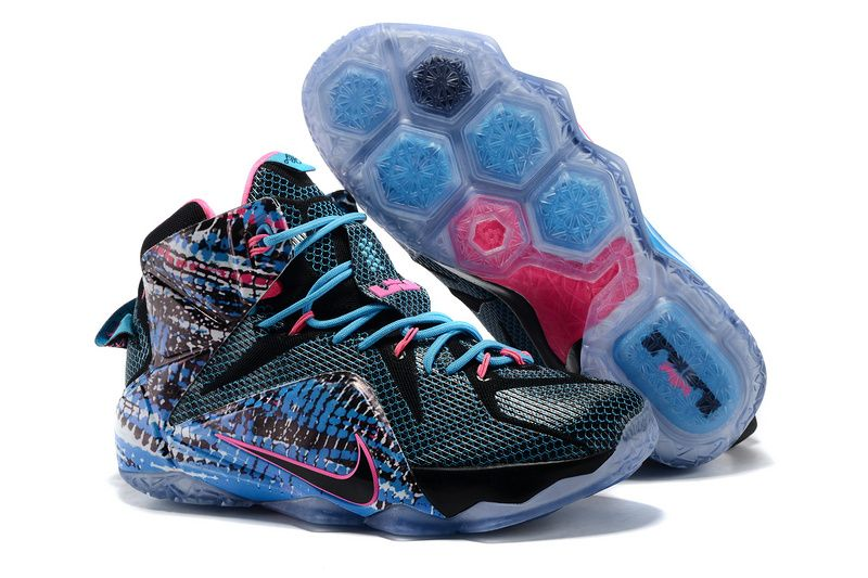 91e4b179de5 Cheap Nike LeBron 12 23 Chromosomes Black Blue Pink Sneaker on sale ...
