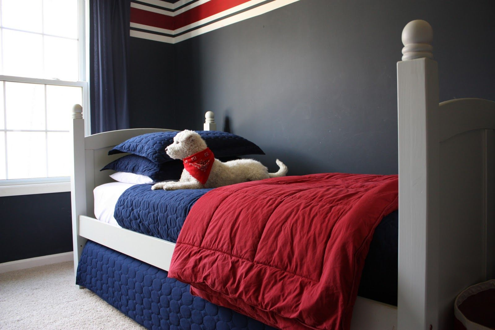 Bedroom colors blue and red - Cape Cod