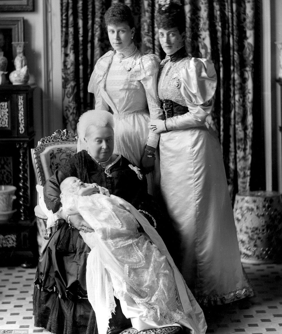 Heritage: Queen Victoria in 1894 at the christening of her great-grandson, the future King Edward VIII (1894 - 1972), with the baby's mother Mary of Teck, above left, and the baby's grandmother Alexandra, daughter of Victoria - 53 years after the dress was first worn by Alexandra, right