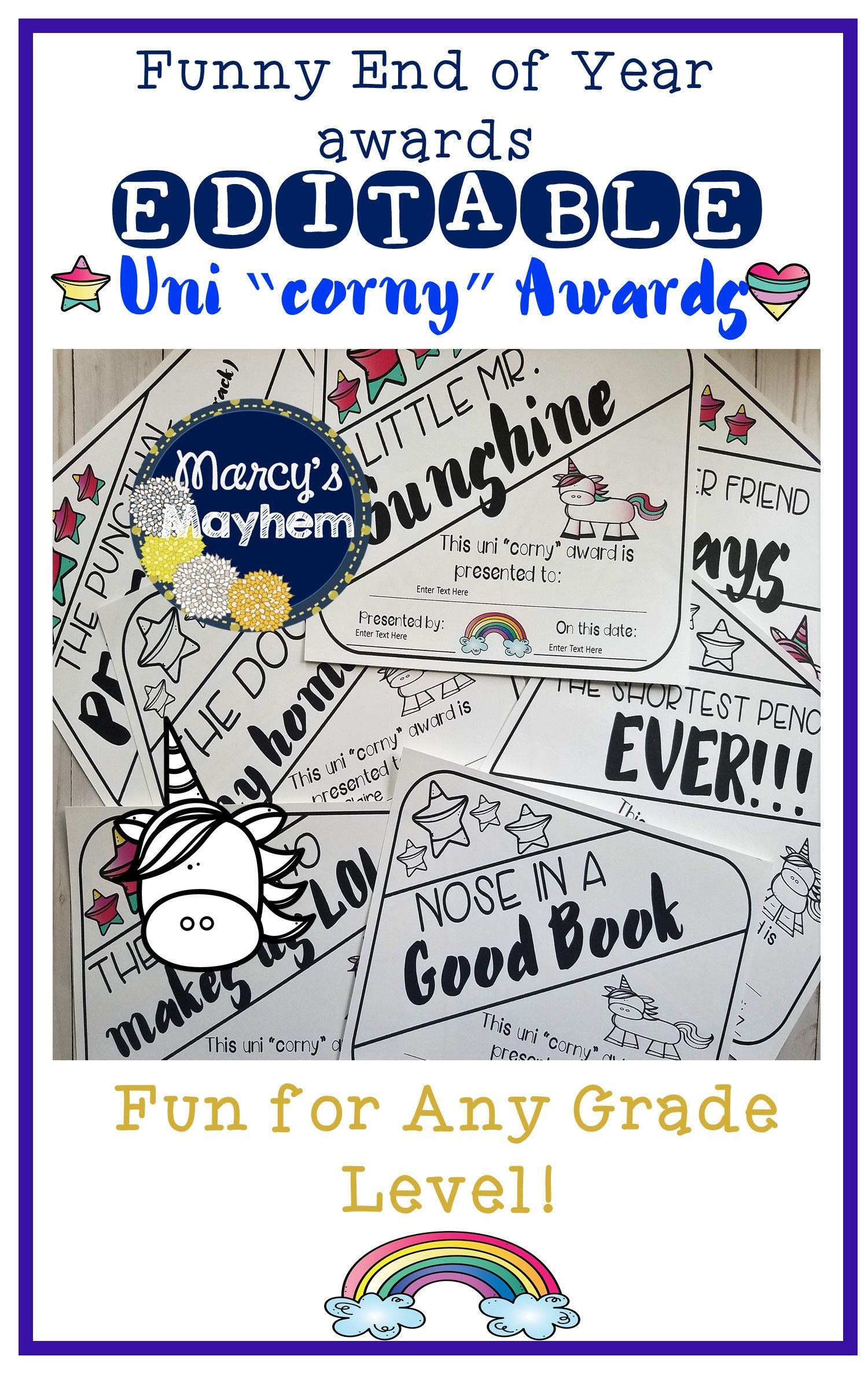 Funny End Of Year Awards Editable Amp Unicorn Theme