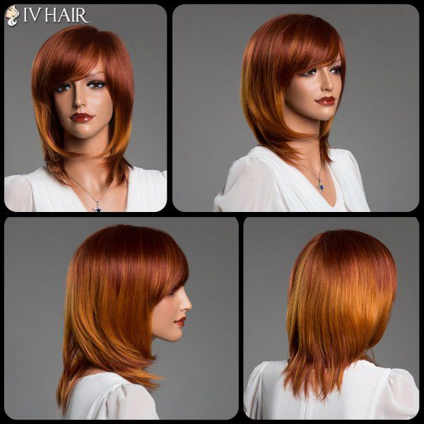 Double Color Medium Layered Tail Adduction Straight Side Bang Real Natural Hair Siv Wig, COLORMIX in Capless Wigs | DressLily.com