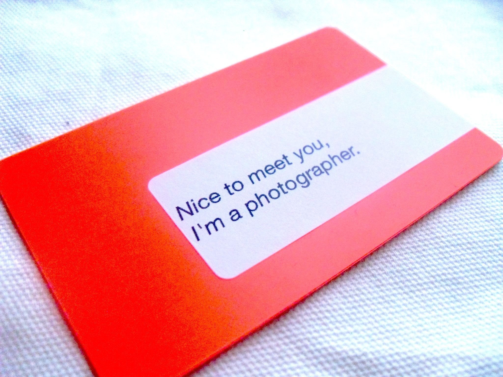 Sticker + Plastic Card = Cool business card. And a nice message, to ...