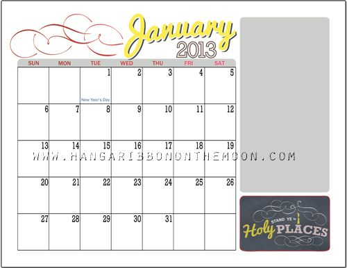 2013 YW/YM Mutual Theme Calendar from Hang a Ribbon on the Moon
