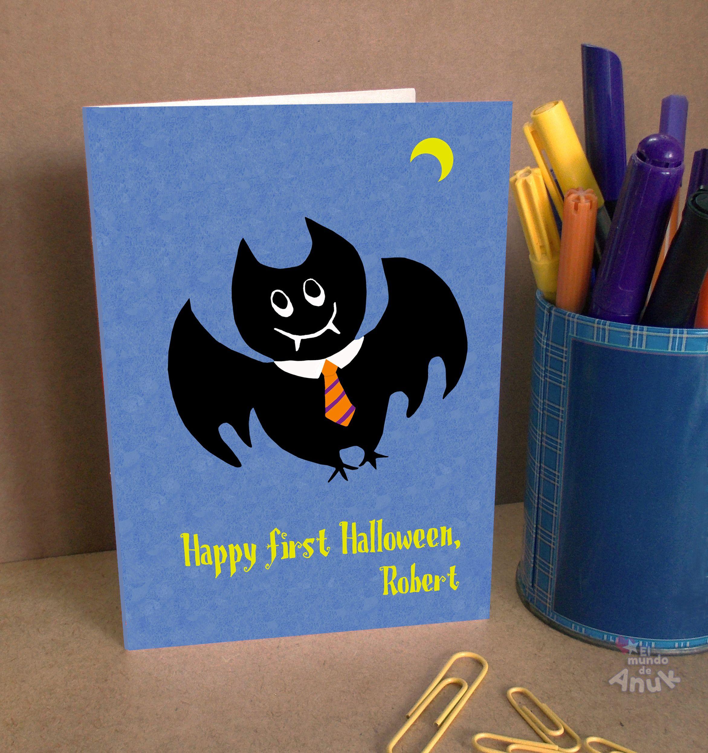 baby first halloween, halloween bat greeting card, halloween gift