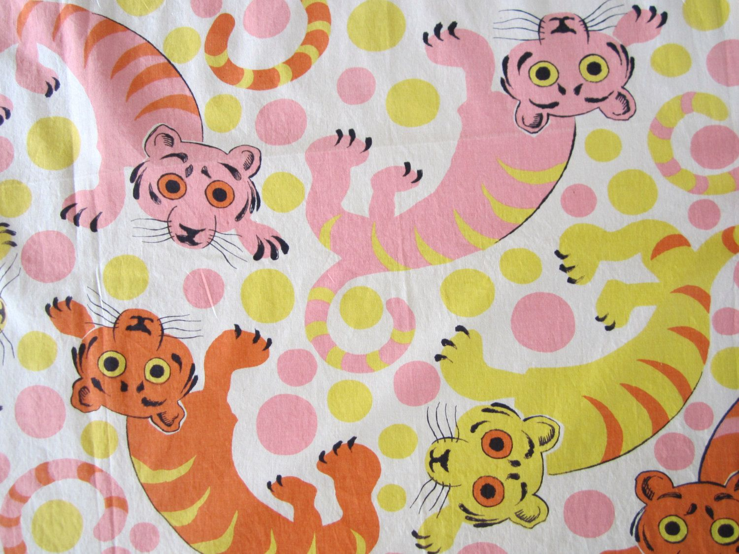 Vintage Fabric Mod Tigers 3 5 Yards Stuffed Animal Patterns