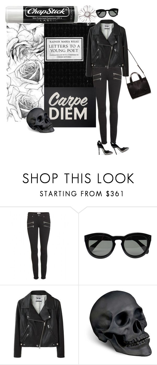 """Seize the day."" by maryamwrites ❤ liked on Polyvore featuring Ruthie Davis, Paige Denim, CÉLINE, Acne Studios, L'Objet and Chapstick"