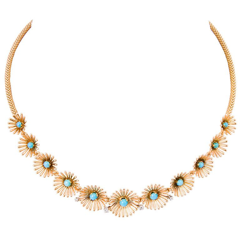'50s: European Turquoise and Diamond Necklace
