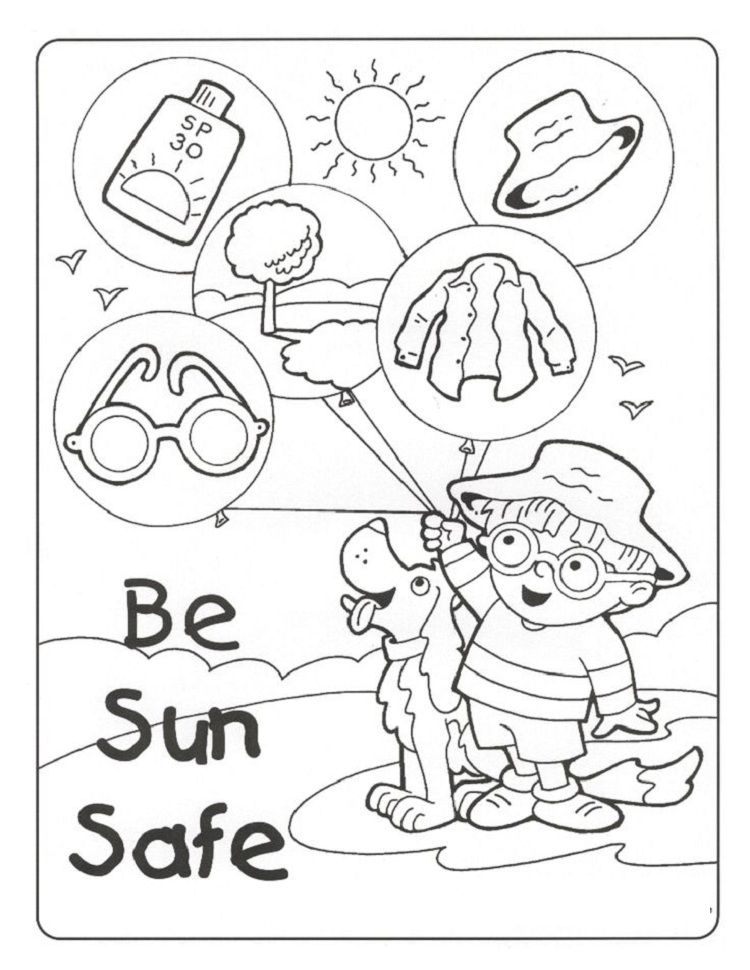 Summer Safety Coloring Pages With Images Summer Safety