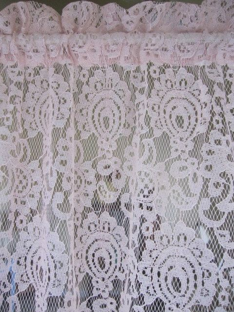 Lace Curtain Pink Panel 60 Wide X By TheCottageWay 2450