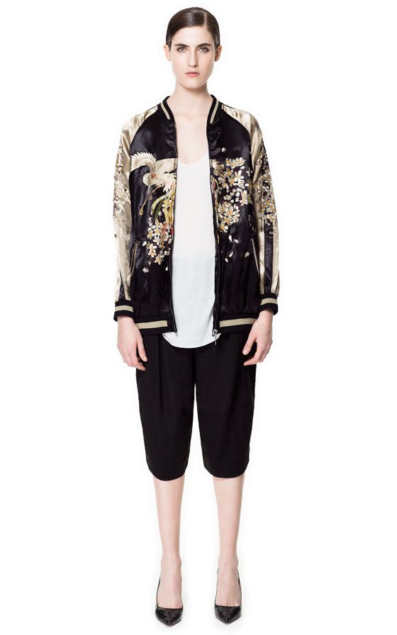 Embroidered bomber jacket with contrast detailing blazers woman embroidered bomber jacket with contrast detailing blazers woman zara indonesia stopboris Images