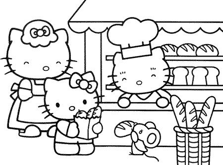 Hello Kitty Bakery Coloring Pages For Kids Printable Free