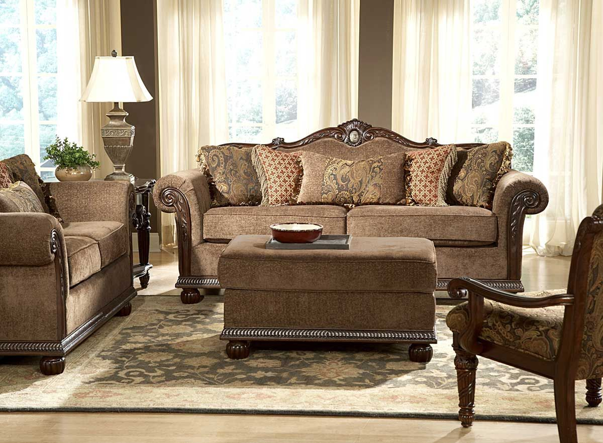 Traditional Wood Trim Chenille Sofa couch Set Living Room Furniture    traditional home decor   Pinterest   Couch set. traditional chairs for living room       Traditional Wood Trim