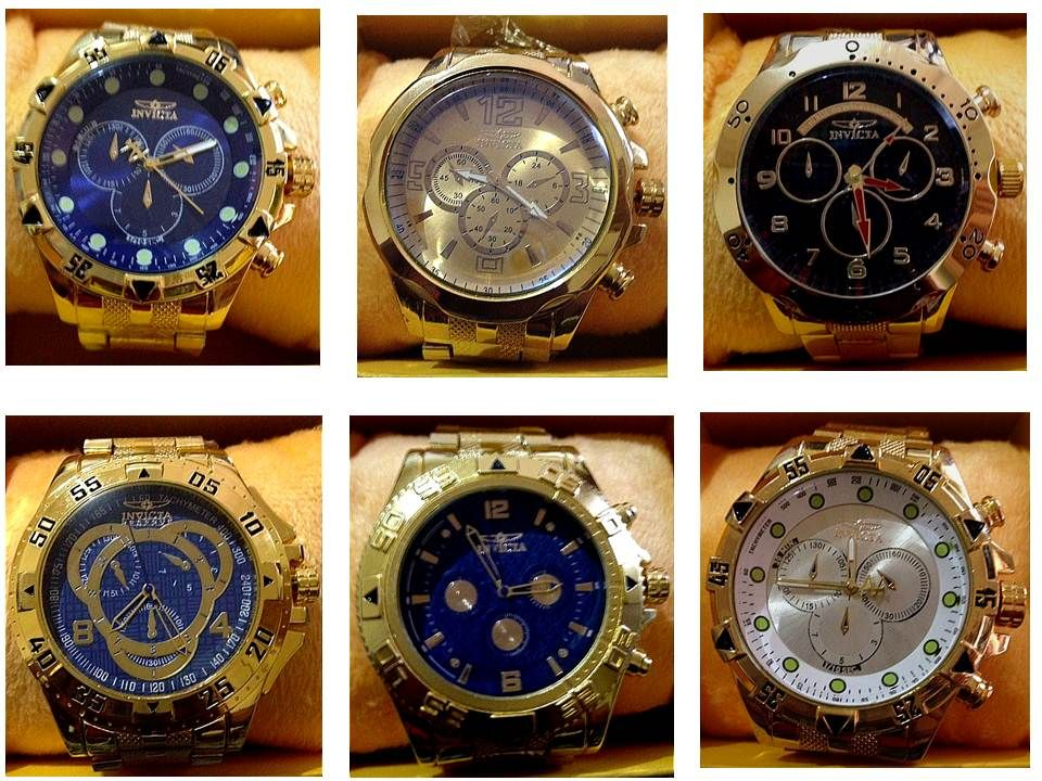 90af541272b Replicas de relógios Invicta masculinos importados de marcas famosas  grandes e dourados com preço de atacado