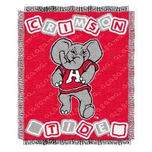 NCAA Alabama Crimson Tide 36-Inch-by-46-Inch Woven Jacquard Baby Throw by Northwest. $14.61. 36-Inch x 46-Inch (approximate) Woven Jacquard Baby Throw. Officially Licensed. 100% Acrylic. Bundle up your little fan with this Northwest NCAA® woven jacquard baby throw blanket. This durable throw blanket is made of soft acrylic, which is easy to care for and stands up beautifully after repeated machine washing. The officially licensed throw blanket is decorated in the team...