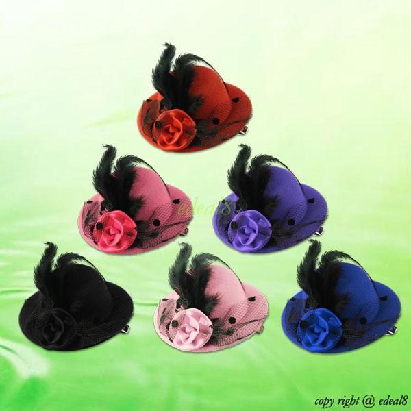 Feather Rose Mini Top Hat Fascinator Hair Clip Burlesque Hen Party Costume | eBay
