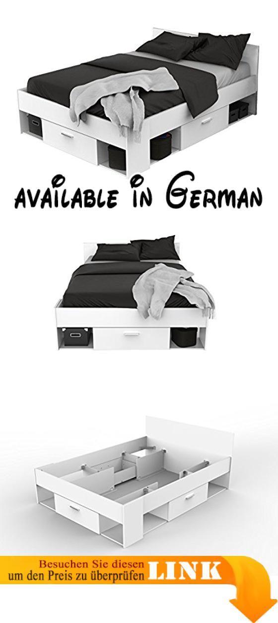 B071RJRXLZ  Doppelbett Futonbett Bett Holzbett Weiß Jugendbett