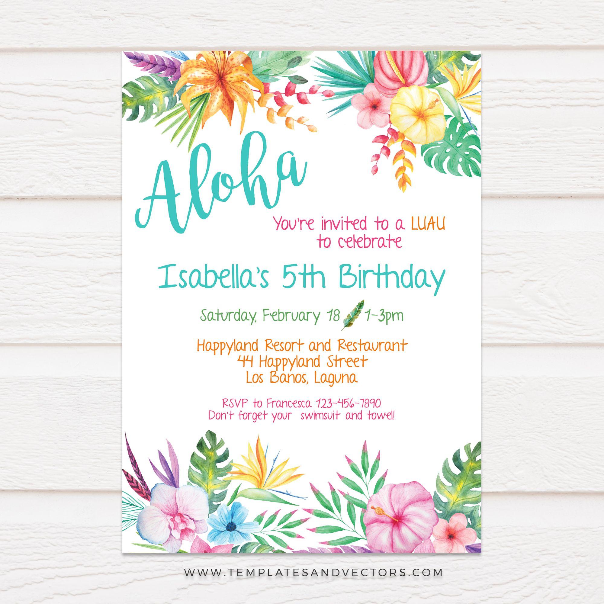 TVB5 Aloha Hawaiian Party Birthday Invitation DIY Printable