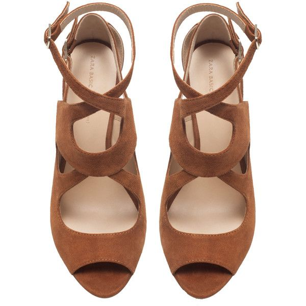 Zara Multi-Strap High Heel Sandal (€81) ❤ liked on Polyvore featuring shoes, sandals, heels, zara, whisky, zara footwear, heeled sandals, zara sandals, zara shoes and multi-strap sandals
