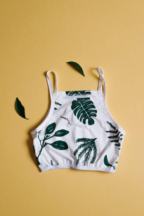 13965ef489af Women's Tank Bra, Organic Underwear Set, Natural Lingerie, Womens bralette,  T-shirt Bra, Plants Patt