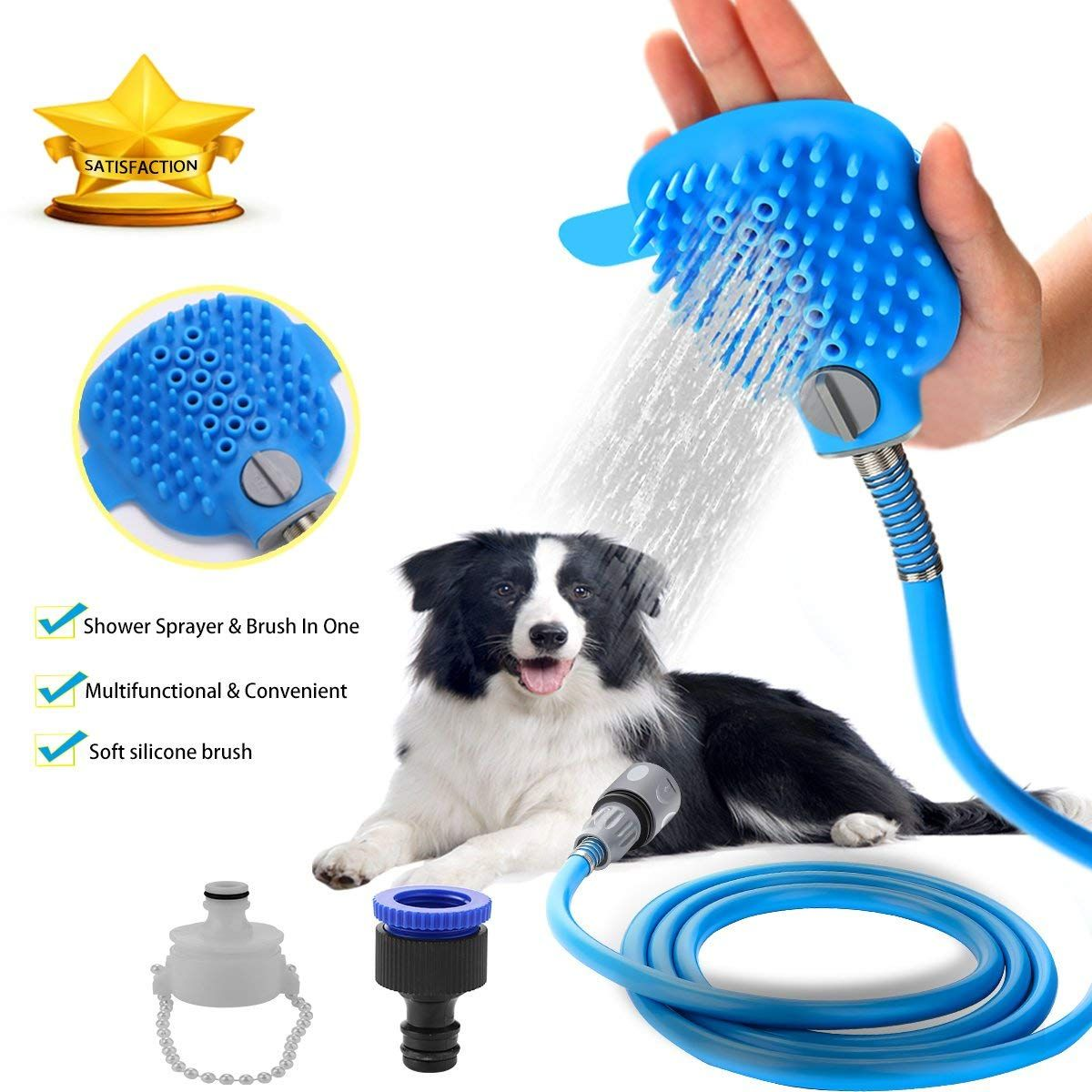 Pet Shower Sprayer Dog Bathing Tool Shower Head And Brush In One